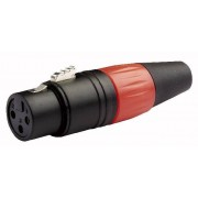 DAP N-CON XLR Plug 3P F Black with Red Endcap