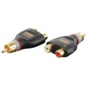 2x RCA female/1x RCA M adapterresistor = 10Kohm